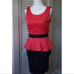 BCBG Pink & Black Peplum Dress